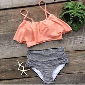 2piece swimsuit, high waisted bottoms (L)